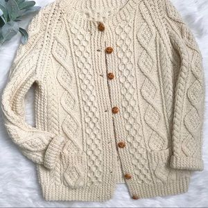 Sweaters - Vintage Handmade Cream Knit Chunky Sweater